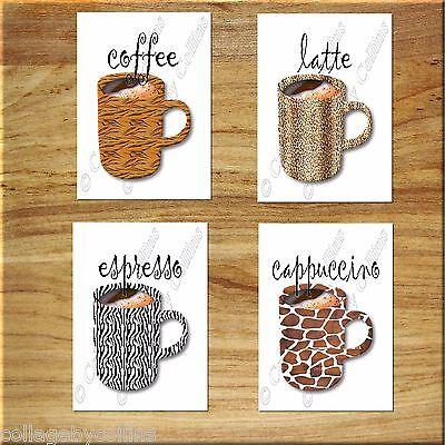 Kitchen Coffee Wall Art Cup Mug Decor Leopard Zebra Animal Print Latte Espresso