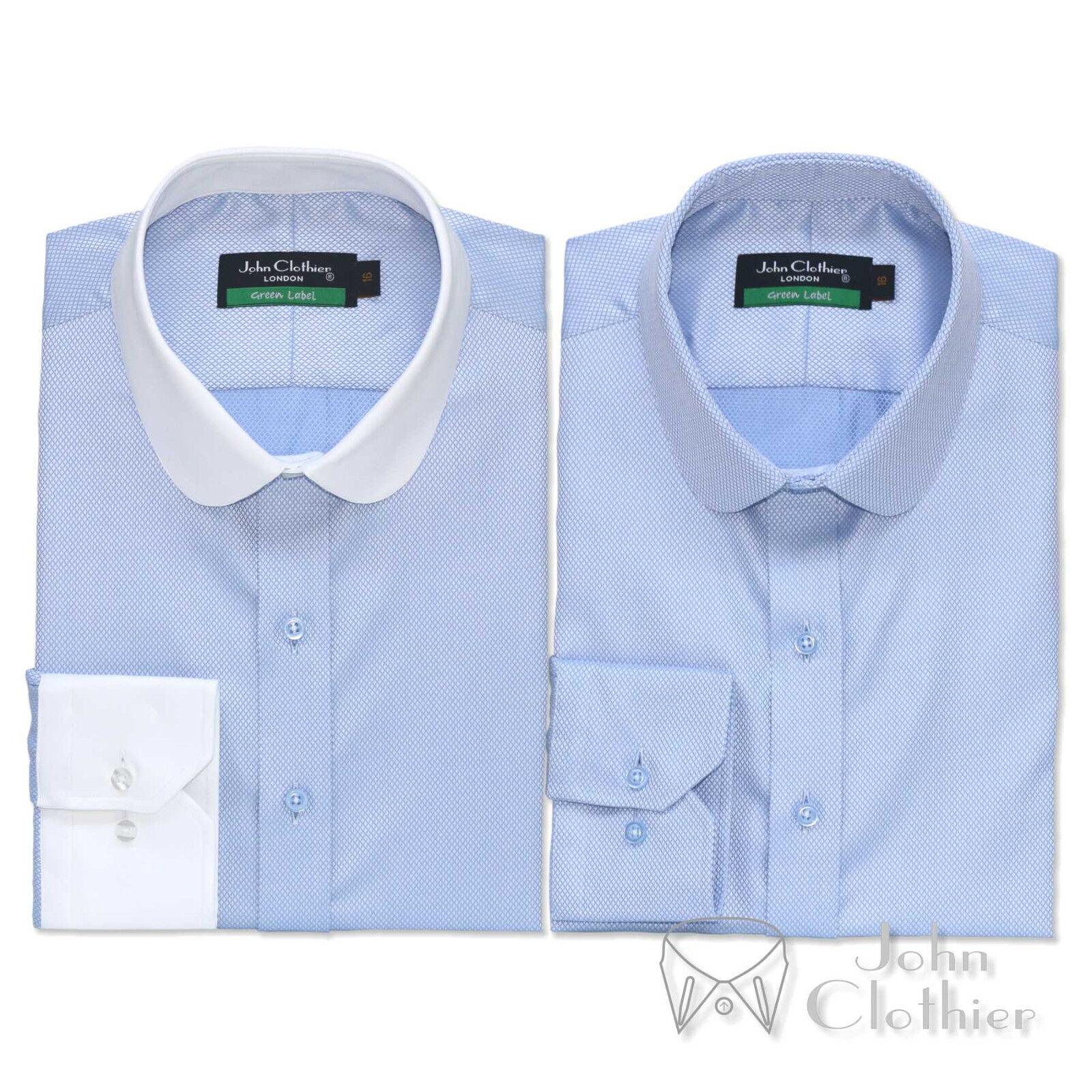 Herren Cotton Penny collar shirt Sky Blau diamond dobby Club collar Gents Round