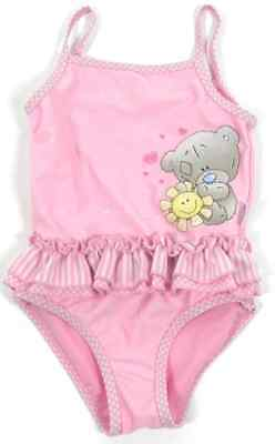 New Baby Girls M&S Me To You Tiny Tatty Teddy Pink Frilly Swimsuit Costume 12-18