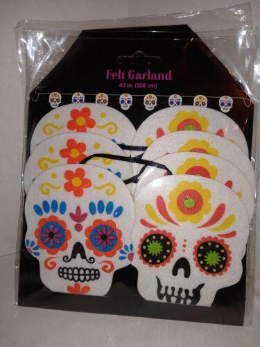 Sugar Skulls Garland Felt New Choice Color  42 inches  7 skull string