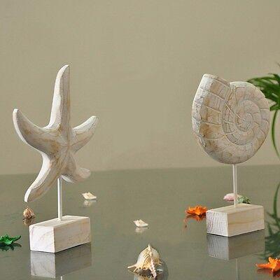 Mediterranean Style Starfish Wood Conch Crafts Home Decorating Sculpture Marine