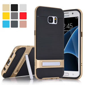 Brushed-Shockproof-Slim-Bumper-Case-With-Stand-For-Samsung-Galaxy-S6-S7-Edge