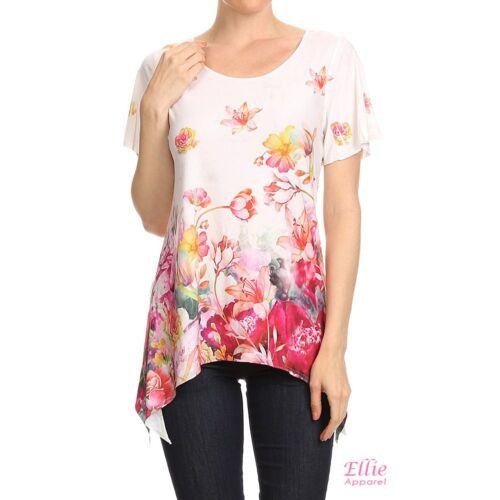 S//M//L//XL Women Floral Paisley Dipped Hem Short sleeve Fashion T-shirt Top