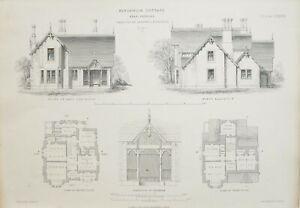 1868-Architektonisch-Aufdruck-Kingsmuir-Huette-Peebles-David-Cousin-Architekt