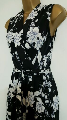 NEW Ex Wallis 8-16 Wrap Front Floral Print Jumpsuit Black Navy /& White Occasion