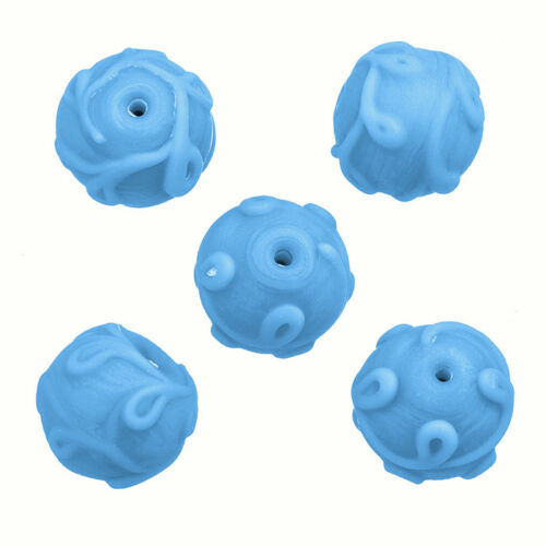 P24//1 Lampwork Swirl Pattern Light Blue Glass Beads 17mm Pack of 5