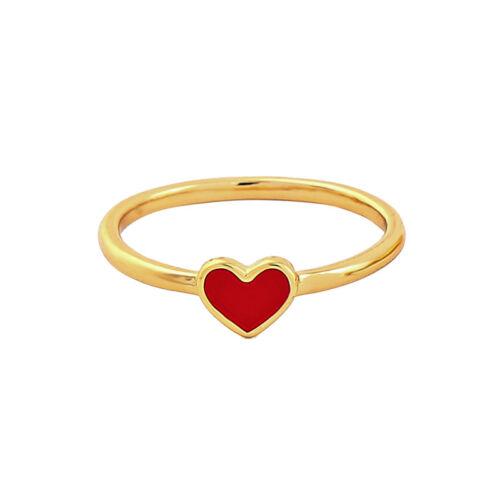 2 Couleur Noir//Rouge Plaqué Or Laiton Simple Coeur Anneaux Pour Femmes Filles mj0016