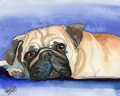 Pug Art Print Signed by Artist Ron Krajewski Painting 8x10 Dog Black