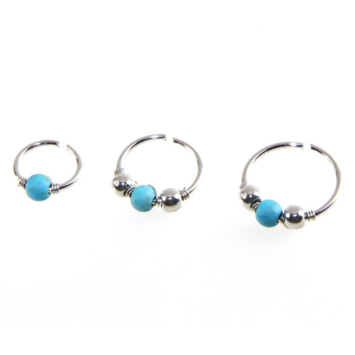 Fashion Cool Punk Turquoise Brass Body Jewelry Piercing Nose Ring Ear Hoop Stud