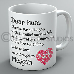 Image Is Loading Personalised Mothers Day Mug Dear Mum Daughter Name