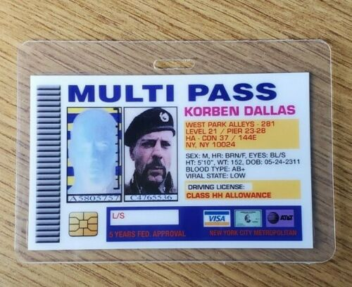 Fifth Element ID Badge-Multi Pass Korben Dallas Dallas cosplay costume prop