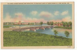 Columbia-Avenue-Bridge-Three-Rivers-FORT-WAYNE-IN-Vintage-Indiana-Postcard
