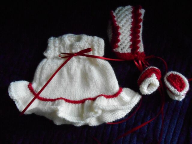 Doll Clothes Vintage Style Cream-Red Hand-knitted dress fit Berenguer, Ott 8in
