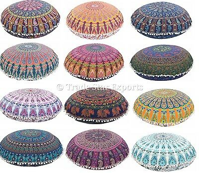 """Indian 32"""" Round Mandala Floor Pillows Wholesale Lot Set Of 50 Cushion Cover"""