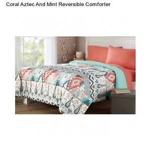 New Mint Coral Full Queen Size forter Reversible