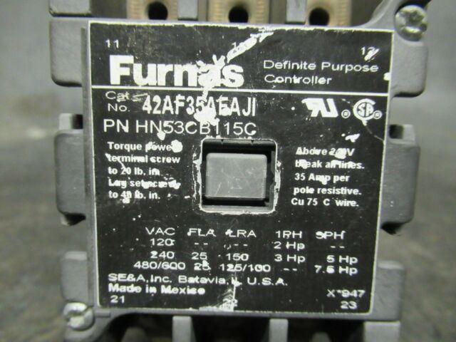 Siemens Contactor 42FE35AF106 120V Coil Used