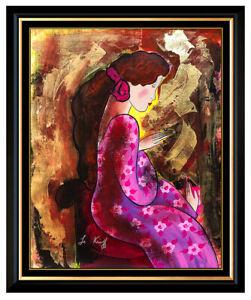 Linda-Le-Kinff-Original-Oil-Painting-On-Canvas-Signed-Female-Portrait-Framed-Art