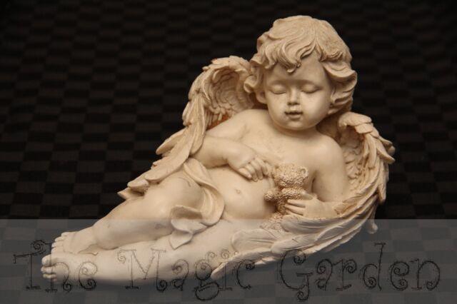 Lying Cherub Angel With Teddy Bear Cement Concrete Plaster Latex Mould Mold
