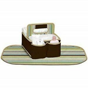 Munchkin Sarabear Portable Diaper Caddy Green Stripes