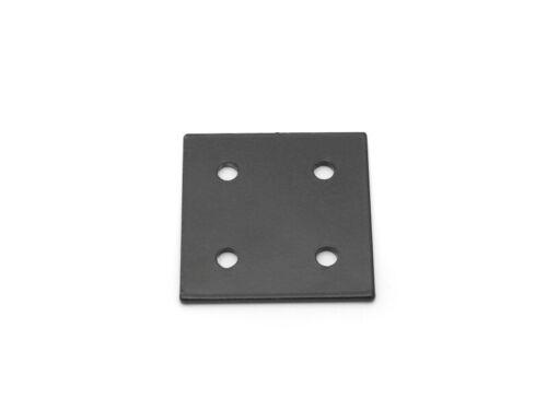 Verbinderplatte 76x76 schwarz pulverbeschichtet gelasert 4-loch