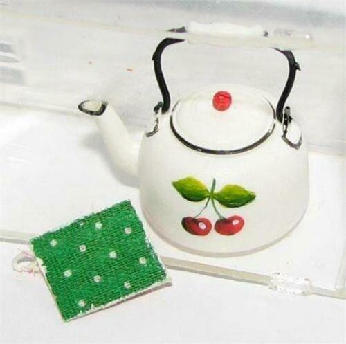 DOLLHOUSE Tea Kettle w Pot Holder Carradus 1552 Cherry Motif Miniature