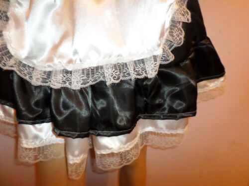 "ADULT BABY SISSY FRENCH MAIDSATIN DRESS 50/"" PRETTY  FRILL HEM  APRON MOP CAP"