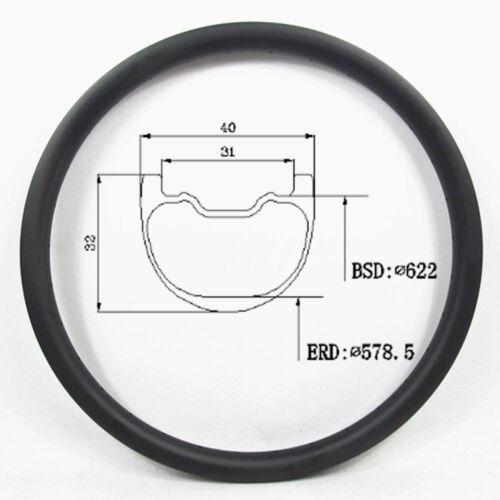 Carbon MTB Rim 29er 40mm Wide 32mm Depth Tubeless DH Rim 28//32Hole UD Matt//Gloss