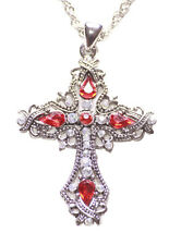 Traditional Twist-ruby Red & Clear Diamante Cross Pendant/chrome Necklace(Zx197)