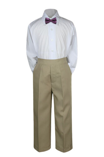 Boys Kid Teen Wedding Formal 3pc Set Shirt Khaki Pants Bow Tie Suits Uniform S-7