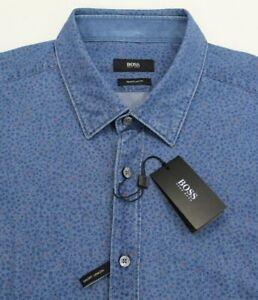 NWT $155 Hugo Boss Slim Fit Gray Plaid Shirt Mens L 2XL Nemos Long Sleeve NEW