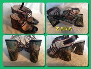 STUNNING-ZARA-Multi-Color-Strappy-Palm-Pattern-Platform-Sandals-Size-6-36-NWOB