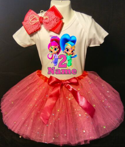 2nd Birthday Dress shirt 2pc Fuchsia Tutu outfit -With NAME- Shimmer and Shine