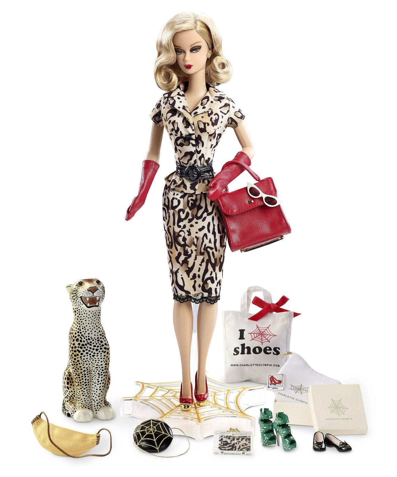 Muñeca Barbie Collector Charlotte Olympia oro Label Barbie Muñeca en el tejido
