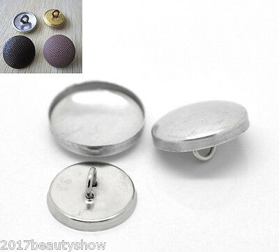 100 Sets Aluminum Tone Craft Shank Wire Back Cover Metal Buttons 19x19mm 17x17mm
