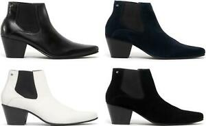 mens black leather pointed winklepicker shoes