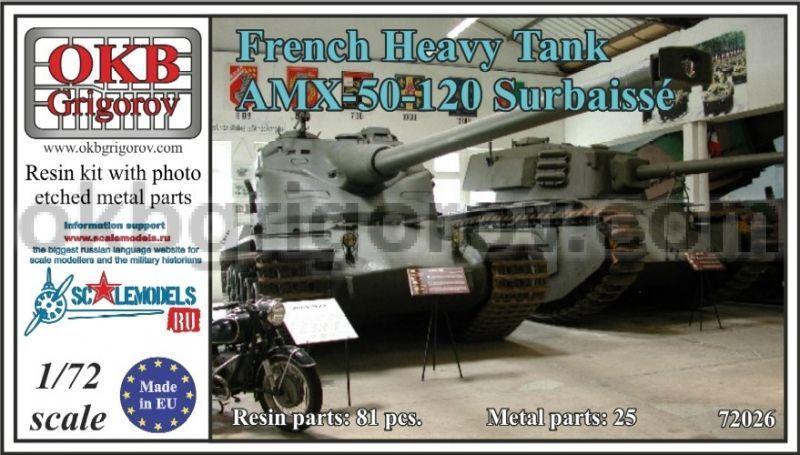 Okb griggoldv 1 72 V72026 French Heavy Tank AMX-50-120 Surbaissé(resin kit)