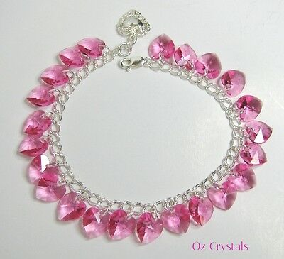 Pink Heart Charm Bracelet Made With Swarovski Indian Pink & 925 Sterling Silver