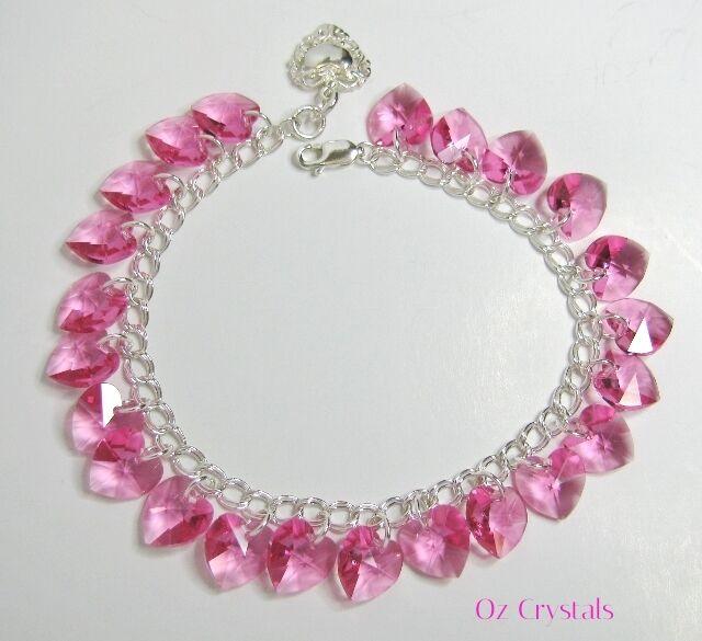 Pink Heart Charm Bracelet, Swarovski Elements Solid 925 Sterling Silver