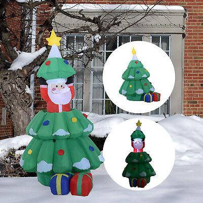 Árbol de Navidad con Papa Noel Hinchable Decoración Navideña Iluminación LED