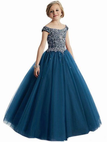 Flower Girl Dresses Tulle Beading Appliqued Pageant First Communion Prom Dresses