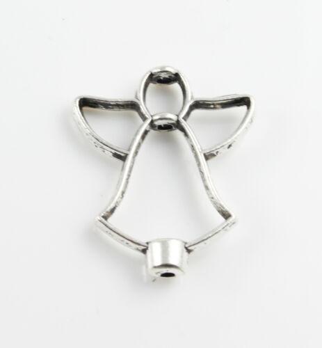 6 Metallperlen Engel antik Ø 1 mm 26 x 21 Schmuck Weihnachten