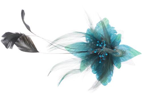 Vintage CHEREE Feather FLOWER Brosche HAARSPANGE Rockabilly