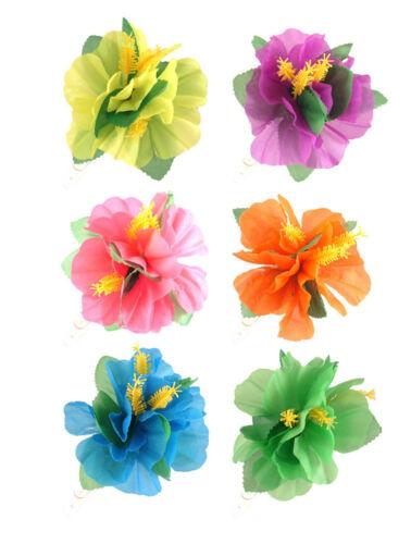 6  Hibiscus Flower Hair Clip Hawaiian Luau Fancy Dress Party Hula Girl Floral