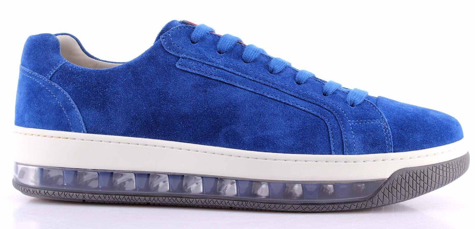 Herren Turnschuhe Schuhe PRADA 4E2701 Scamosciato Cobalto Wildleder Blau Air Sohle