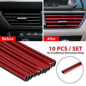 10x-Auto-Car-Accessories-Red-Air-Conditioner-Outlet-Decoration-Strip-Universal