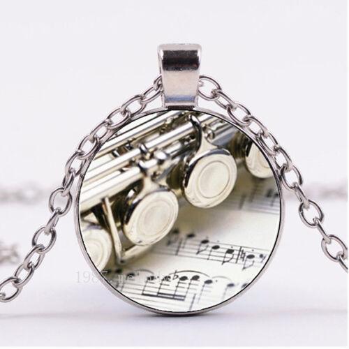 Photo Cabochon Glass necklace Silver popular pendants(FLUTE NOTES)A1156
