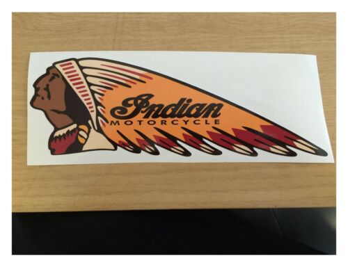 3 x qty 130MM X 50MM INDIAN LEFT colour MOTORCYCLE STICKER DECAL RETRO