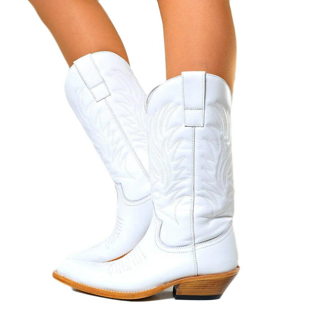 Señora botas de vaquero Western botas cuero auténtico Wild botas Weiss n1000 original