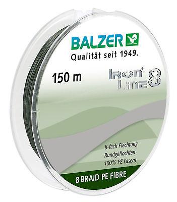 Balzer Iron Line 8x yellow Geflochtene Angelschnur Gelb OVP 150m 0,18mm 12,7kg