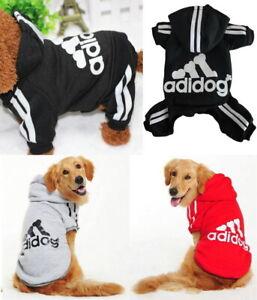 Kleine-und-Gross-Haustier-Hund-Kleidung-Hoodie-Pullover-Jacke-Hemd-Overall-Adidog
